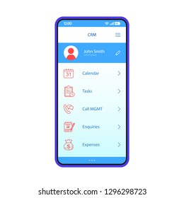 CRM app smartphone interface vector template. Mobile software page blue design layout. Customer Relationship Management application screen. Flat UI. Calendar, tasks, enquiries, expenses phone display