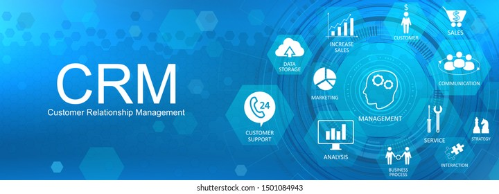 CRM banner. Customer relationship management concept background with icons and conceptuals keywords. Internet Business strategy. CRM concept, customer service and relationship. Vector image