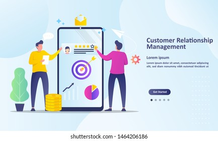 CRM, Business customer relationship management concept, Analysis customer service, Suitable for web landing page, ui, mobile app, banner template. Vector Illustration.