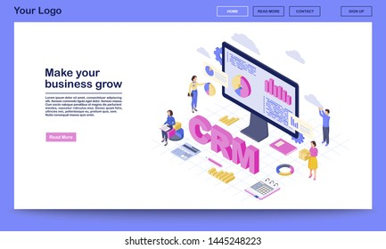 CRM for business growth isometric landing page vector template. Client data analysis, marketing statistics. Customer management automation website interface. CRM software 3d concept