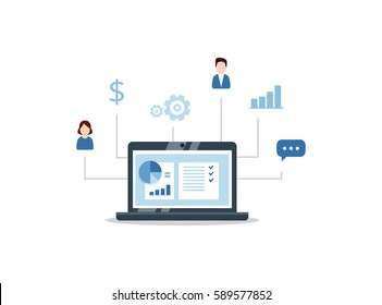 CRM concept design with vector elements. Flat icons of accounting system, clients, support, deal. Organization of data on work with clients, Customer Relationship Management.