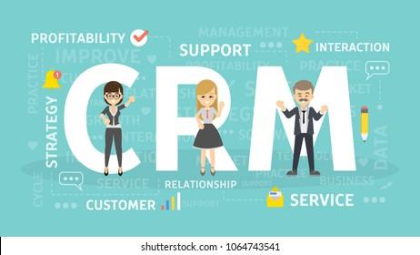 CRM concept illustration. Idea of inbound marketing.