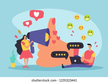 CRM customer relationship management composition with doodle style images and pictograms thought bubbles and human characters vector illustration