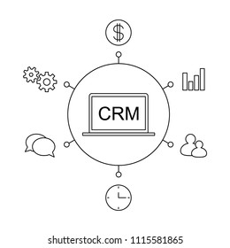 CRM customer relationship management concept flat vector illustration. Set of process control icons, management, statistics, tasks, time, clients, money, settings. Line illustration CRM