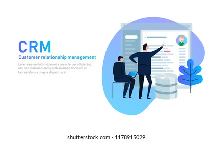 CRM. Customer relationship management concept. Businessman looking into database application screen. Vector