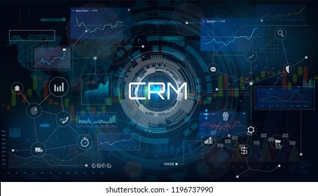 CRM - Customer relationship management. Customer relationship management concept. Vector illustration in futuristic style. Business strategy CRM