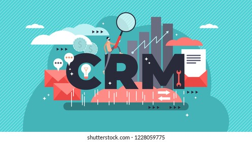 CRM or customer relationship management flat stylized vector illustration. Drawn approach to manage company interaction with customers. Data analysis about history and retentionfor sales, relationship