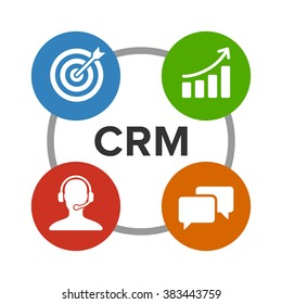 CRM - customer relationship management flat vector color icon for apps and websites