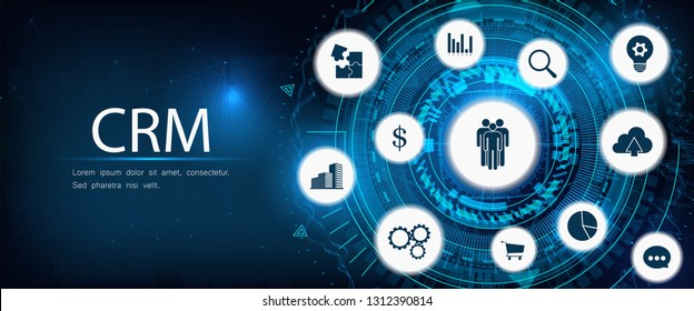 CRM - Customer relationship management. Futuristic style, design illustration with line and icons. Business internet technology. CRM concept, customer service and relationship. Illustration background