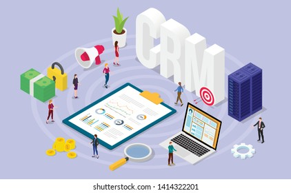 crm customer relationship manager concept with team people and financial admin data with isometric modern flat style - vector
