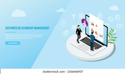 crm isometric customer relationship management concept for website template landing homepage - vector illustration