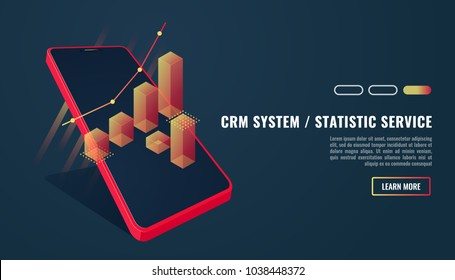 CRM isometric vector illustration. Customer relationship management concept background. Customer and company interaction approach. .Vector illustration in 3d style