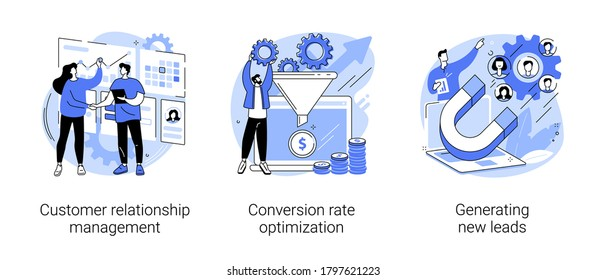 CRM lead management abstract concept vector illustration set. Customer relationship management, conversion rate optimization, generating new leads, sales data, marketing software abstract metaphor.