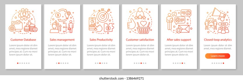 CRM mobile app page screen vector template. Customer database. Sales management and productivity. Walkthrough website steps with linear illustrations. UX, UI, GUI smartphone interface concept