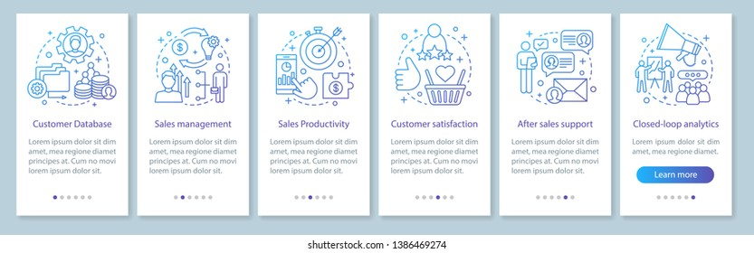 CRM mobile app page screen vector template. Customer database. Sales management. Client satisfaction. Walkthrough website steps with linear illustrations. UX, UI, GUI smartphone interface concept