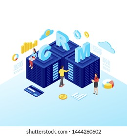 CRM servers isometric vector illustration. Customer relationship management software, Saas isolated 3d concept. Managers working with client database, servers. Marketing automation tool