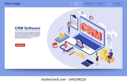 CRM software isometric landing page vector template. Working process, workflow organization and optimization service website interface. Customer relationship management system 3d concept