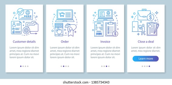 CRM software mobile app page screen vector template. Order and invoice creating. Customer detail. Walkthrough website steps, linear illustrations. Deal making. UX, UI, GUI smartphone interface concept
