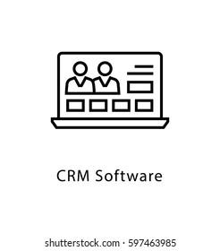 CRM Software Vector Line Icon