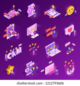 CRM system isometric icons with human characters computer technology rating elements isolated on purple background vector illustration
