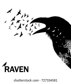 Croaking crow or raven. Vector illustration with double exposure effect.