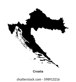 Croatia black map,border with name of country