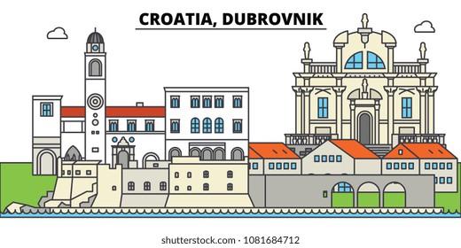 Croatia, Dubrovnik. City skyline, architecture, buildings, streets, silhouette, landscape, panorama, landmarks. Editable strokes. Flat design line vector illustration concept. Isolated icons