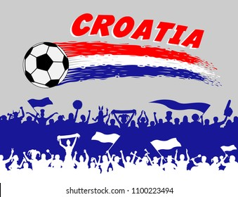 Croatia flag colors with soccer ball and Croatian supporters silhouettes. All the objects, brush strokes and silhouettes are in different layers and the text types do not need any font.