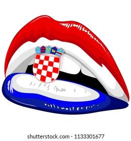 Croatia Flag Lipstick on Sensual Lips with Shield Emblem