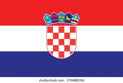 Croatia flag vector graphic. Rectangle Croatian flag illustration. Croatia country flag is a symbol of freedom, patriotism and independence.