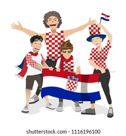 Croatia football fans. Cheerful soccer fans, supporters crowd and Croatia flag.