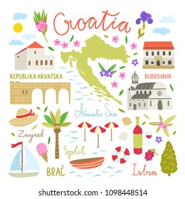 Croatia illustration symbols. Cute travel icons about Croatia