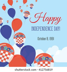 Croatia Independence Day Greeting Card. Flying Flat Balloons In National Colors of Croatia. Happy Independence Day Vector Illustration. Croatian Flag Balloons.