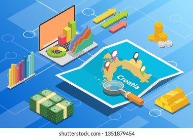 croatia isometric business economy growth country with map and finance condition - vector