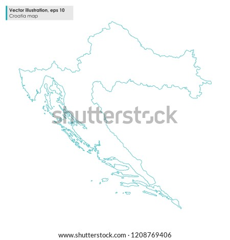 Croatia Map Vector Line Illustration On Stock Vector (Royalty Free ...