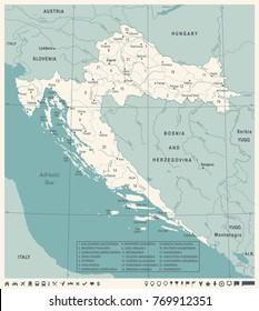 Croatia Map -Vintage High Detailed Vector Illustration