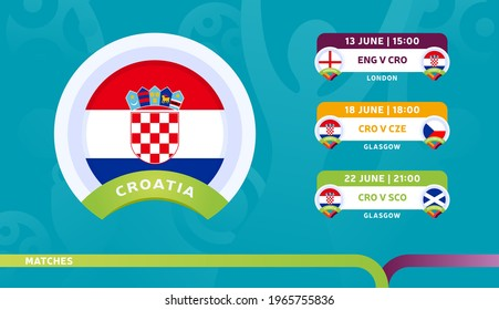 croatia national team Schedule matches in the final stage at the 2020 Football Championship. Vector illustration of football euro 2020 matches.