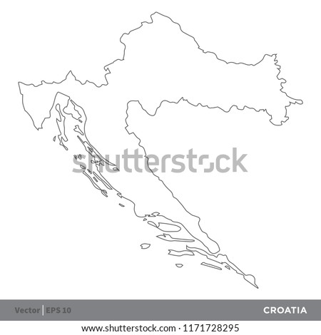 Croatia Outline Europe Country Map Vector Stock Vector (Royalty Free ...