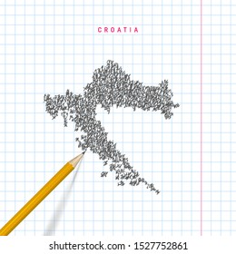 Croatia sketch scribble map drawn on checkered school notebook paper background. Hand drawn vector map of Croatia. Realistic 3D pencil.