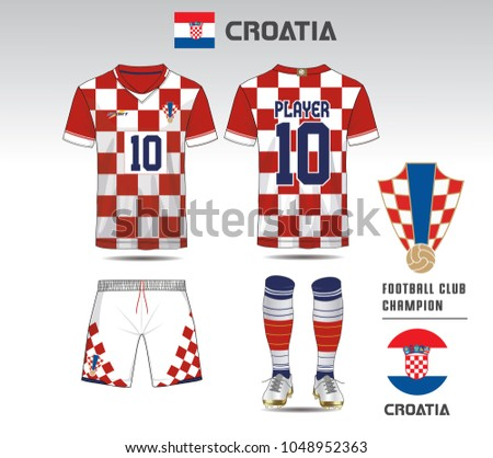 Croatia soccer jersey or team apparel template. Mock up Football uniform  for football club. e1c120dee