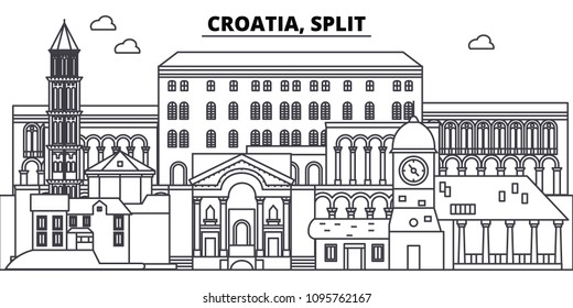 Croatia, Split line skyline vector illustration. Croatia, Split linear cityscape with famous landmarks, city sights, vector landscape.
