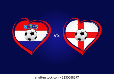 Croatia vs England flags, national team soccer on navy blue background. Croatian and English national flag in a heart, button vector.