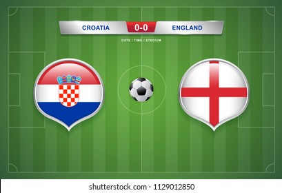 Croatia vs England scoreboard broadcast template for sport soccer 2018 and football league or world tournament championship round semi finals vector illustration