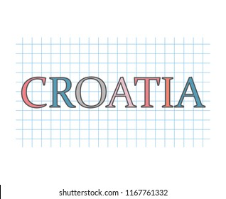 Croatia word on checkered paper texture- vector illustration