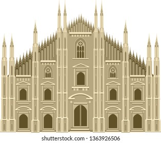 Croatian cothedral. Catholic palace in vector. European architecture.