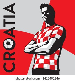Croatian football fan in red checkered shirt - vector illustration