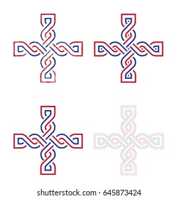 "Croatian national medieval wattle, called ""Hrvatski pleter"" - crosses vector design in red, wite and blue, croatian national tricolor."