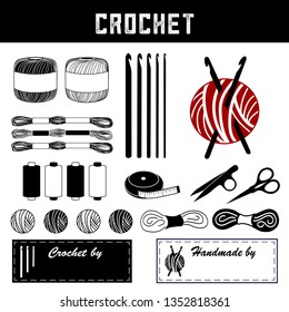 Crochet, DIY tools and supplies for crochet, tatting, making lace: hooks, floss, thread, yarn, tape measure, bobbins, thread clips, embroidery scissors, sewing labels with copy space to personalize.