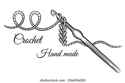Crochet knitting sign. Crocheting hook with yarn thread. Steel accessory for hand made knit. Hobby craft of making textile clothing. Needlework. Work of knitter. Knitwear shop symbol. Outline vector