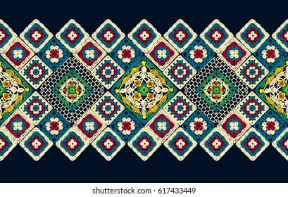 Crochet, lace. A carpet of squares. Granny square. Decor for clothes. Trendy pattern. Knitted wear. Folk art motif with flowers. Vector illustration